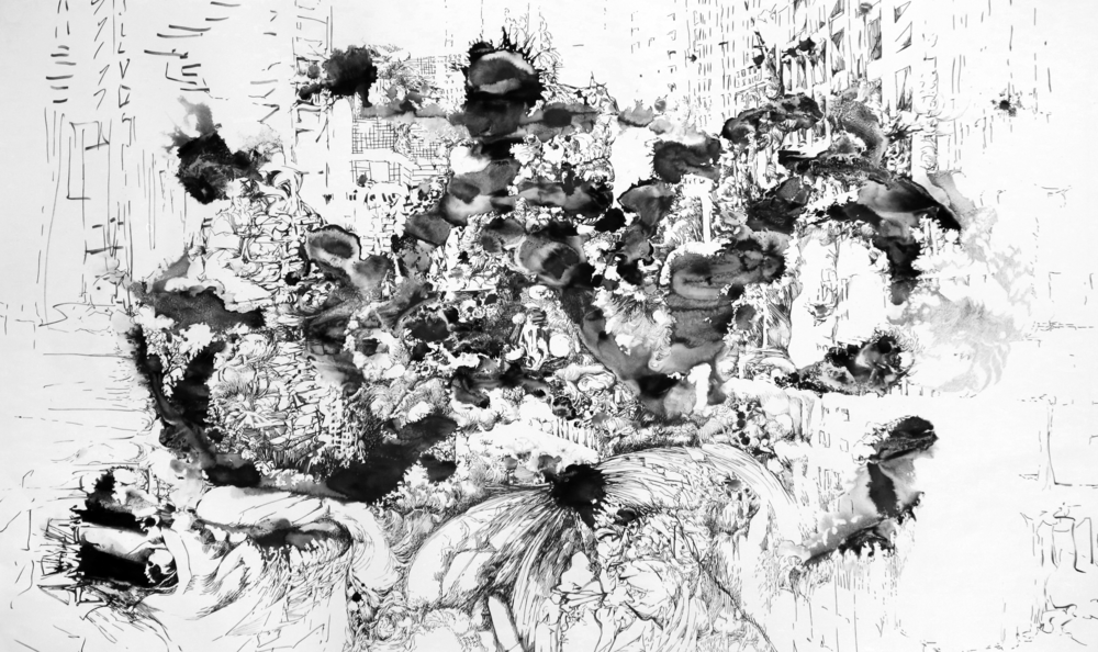 Fluxionapolis, 2016, Tusche und Marker auf Papier, 178,5 x 107 cm