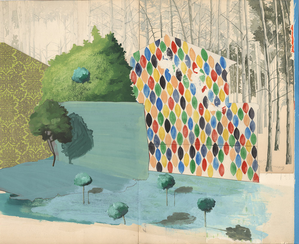 David Eager Maher,  Courtyard , 2016, Aquarell und Öl auf gefundenem Papier, 57,5 x 70 cm