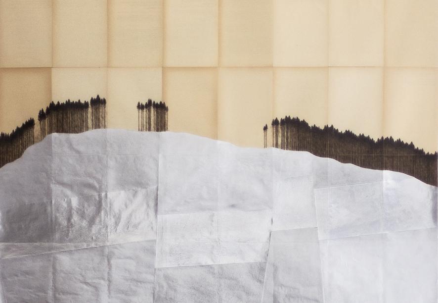 """Michael Merkel, o.T. (Serie """"Im Cynwald""""), 2015-16, Folie, Tusche und Fineliner auf Buchseite, 142,5 x 104 cm (Detail)"""