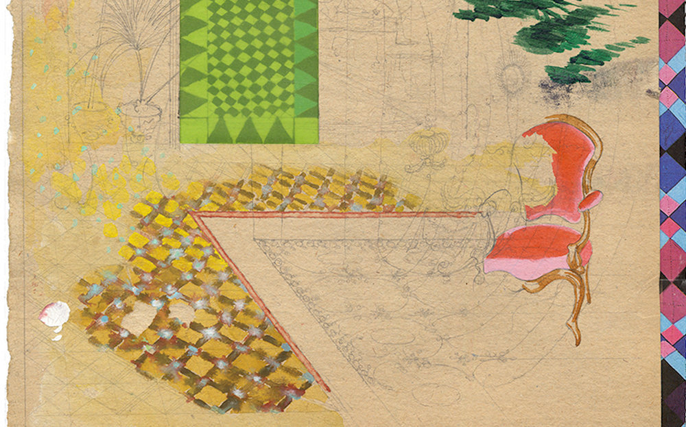 David Eager Maher, Veranda,Veranda 2017, Aquarell und Bleistift auf gefundenem Papier,29 x 20cm (Ausschnitt)