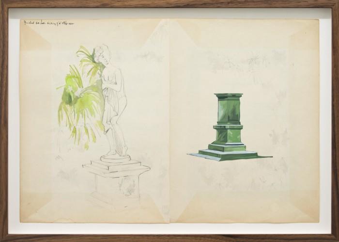 David Eager Maher, Enclosure, 2017, Aquarell, Bleistift und Acryl auf gefundenem Papier, 31 x 46 cm