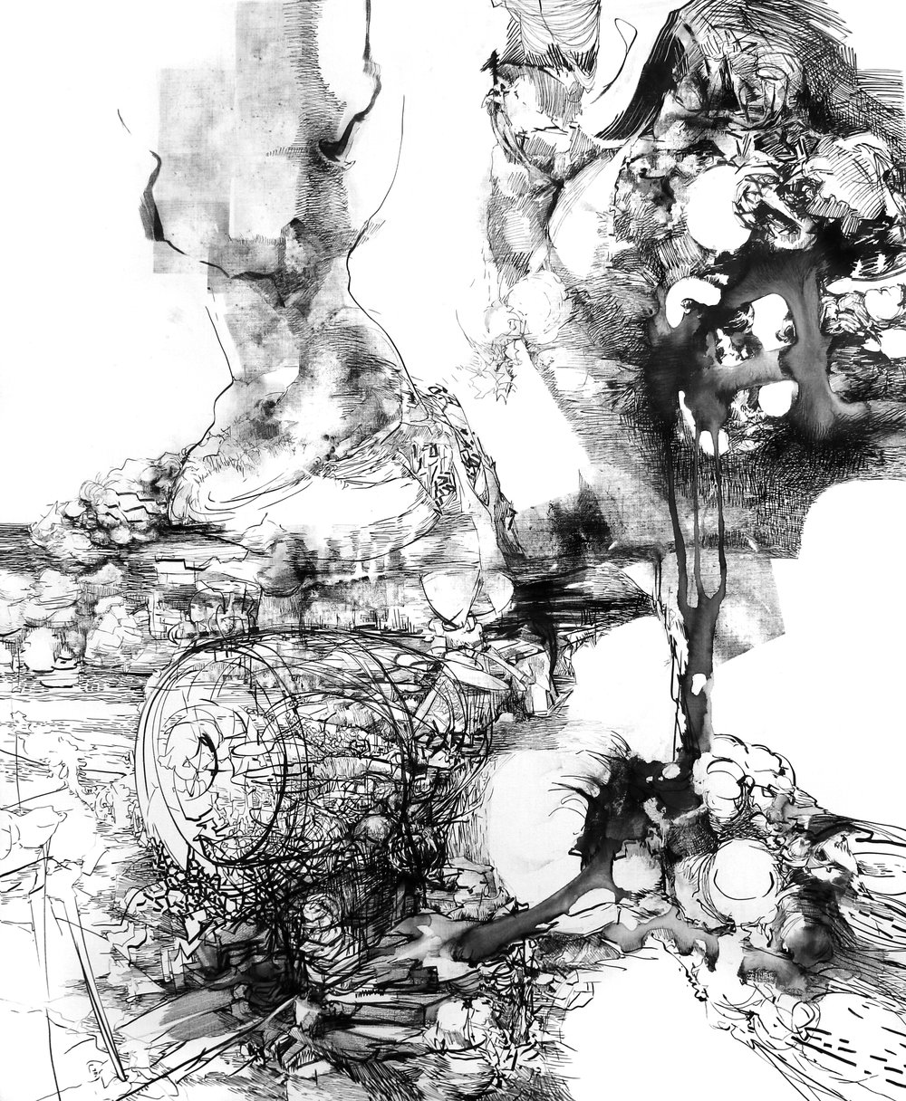Sabine Banovic, Sichtflug, 2017,  Tusche & Marker auf Leinwand, 170 x 140 cm