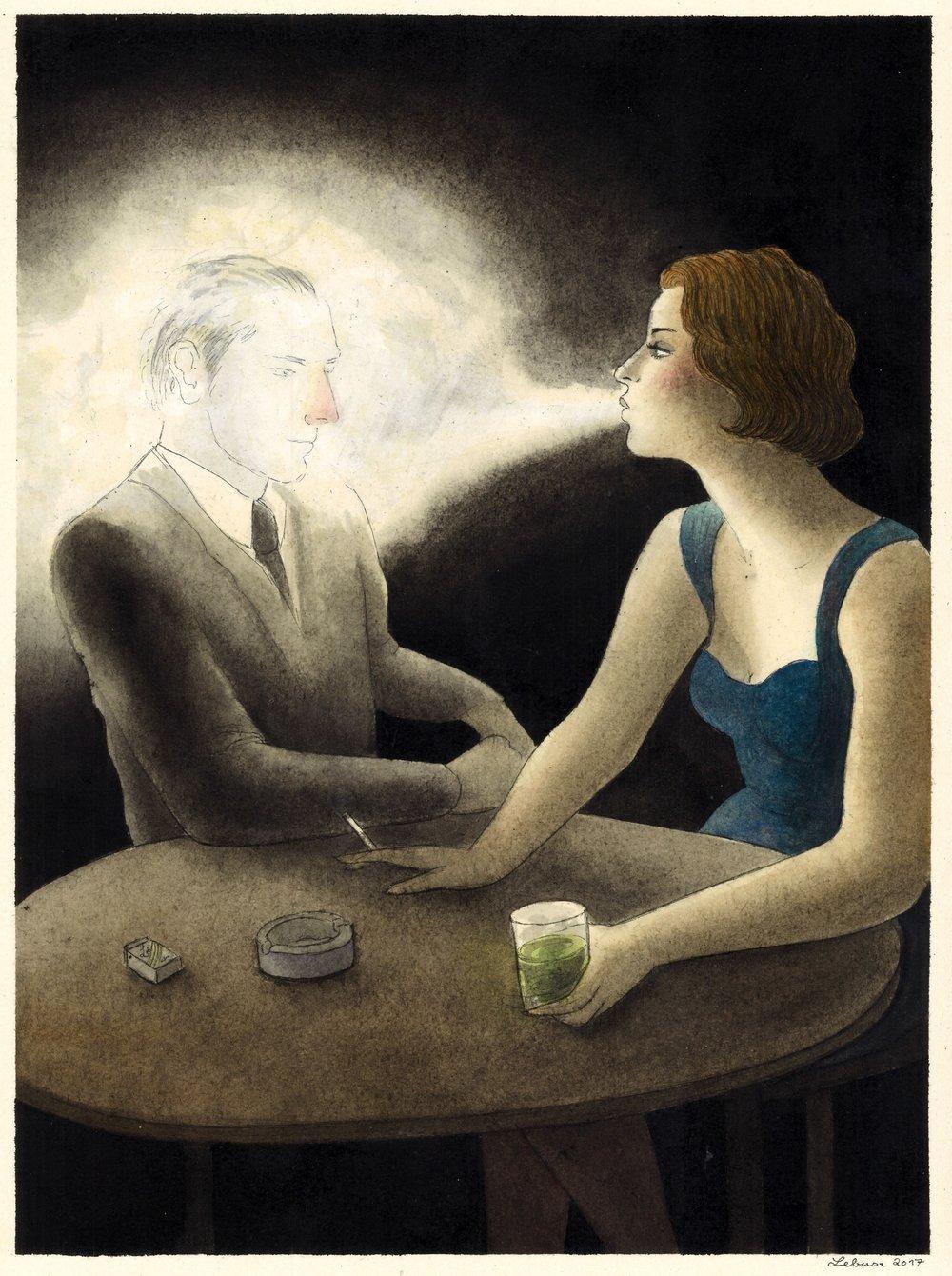 Corinne von Lebusa, Man in Fog, 2017, Zeichnung, Aquarell und Lack auf Karton, 40 x 30 cm