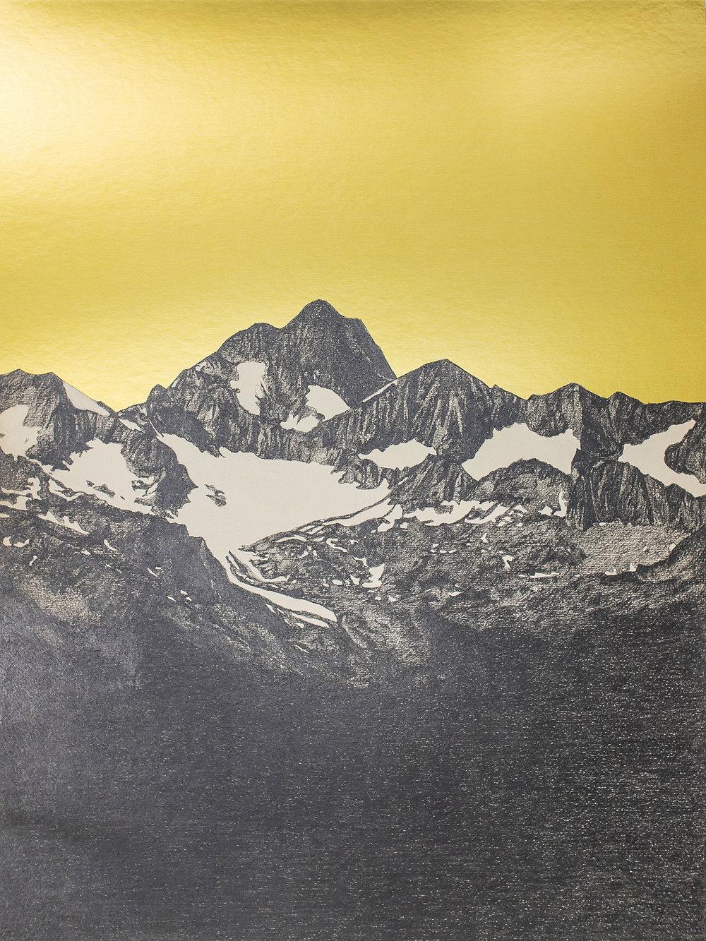 Abb.: Michael Merkel, Sacri Monti, 2018, Bleistift und Folie auf Papier, 30 x 22,5 cm