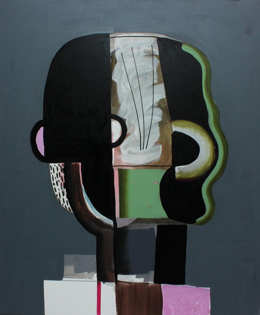 Image.: Oliver Gröne, Head full of steam, 2019, Acrylic and oil on canvas, 120 x 100 cm