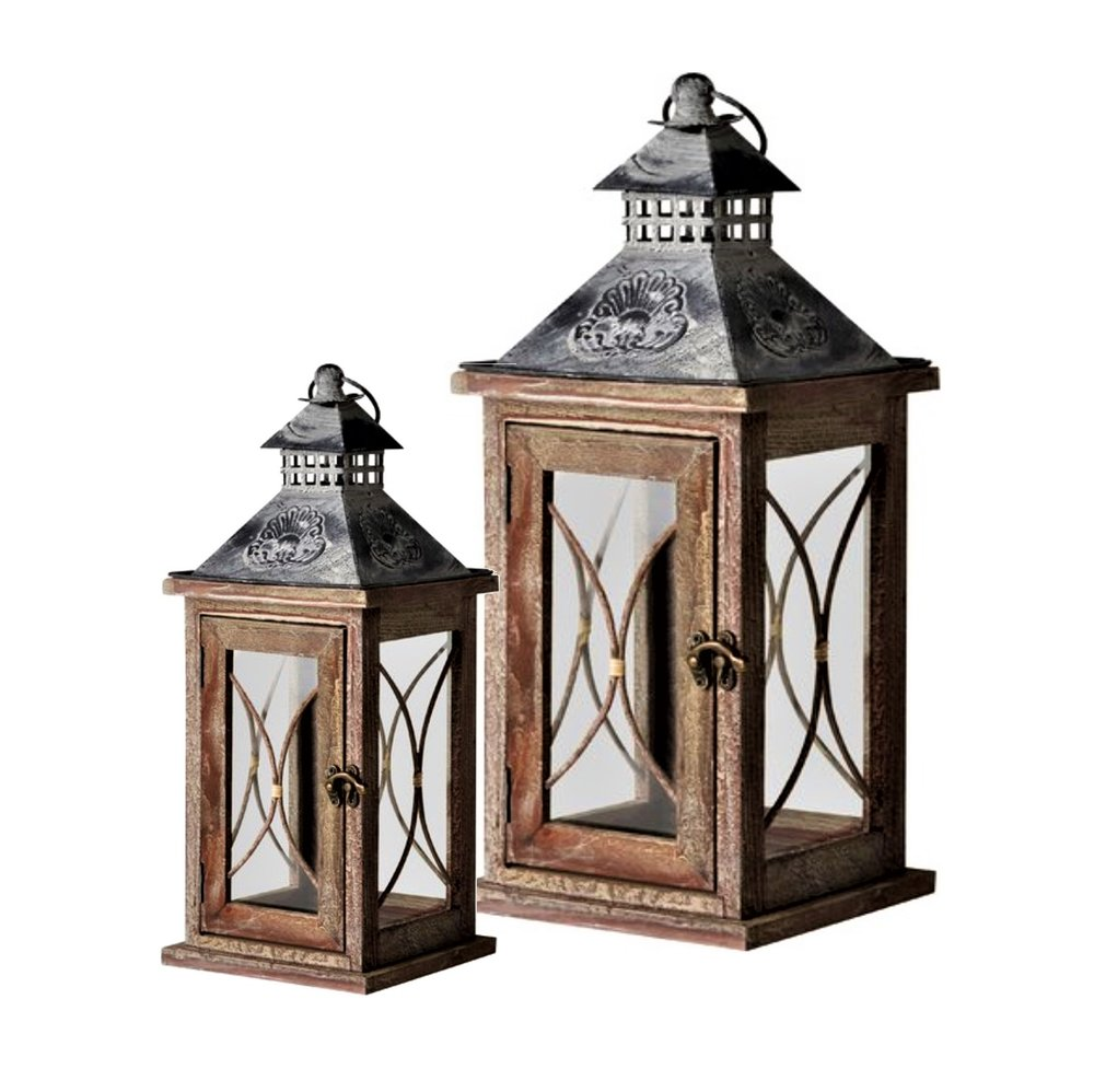WOODEN LANTERNS (PAIR)  Large (52 x 22 x 22cm and Small (37 x 16 x16cm)