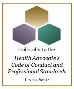 Logo Seal for I subscribe to the health advocate's code of conduct and professional standards