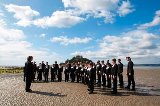 St Petersburg Boys Choir launching the 2017 Festival at St Michael's Mount. Photo - Phil Monckton.