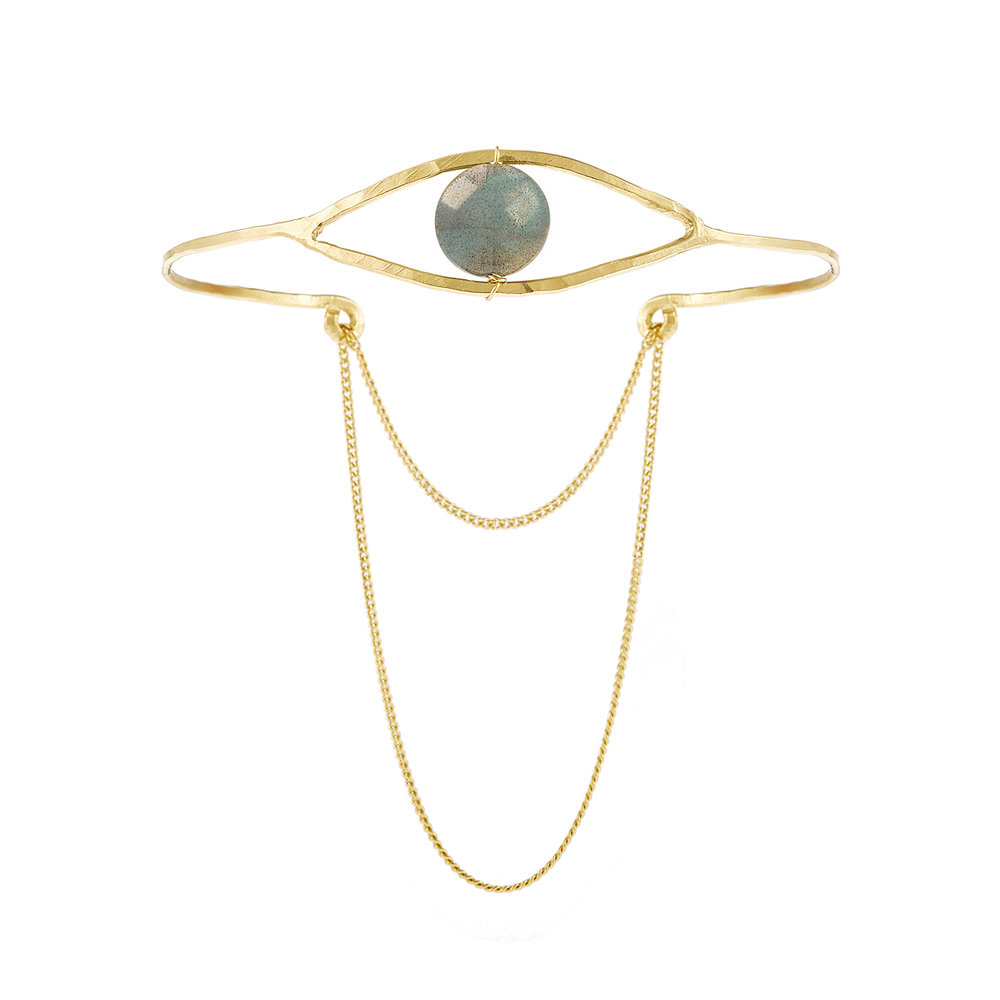 Bijou oeil, bracelet or, vermeil, pierre labradorite grise, protection
