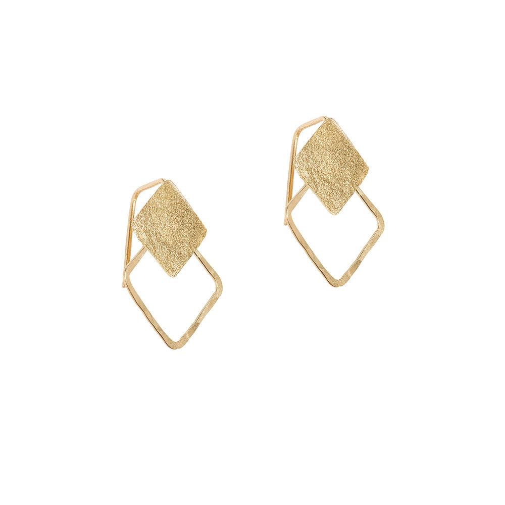 Boucles d'oreilles géométrique, vermeil, or.