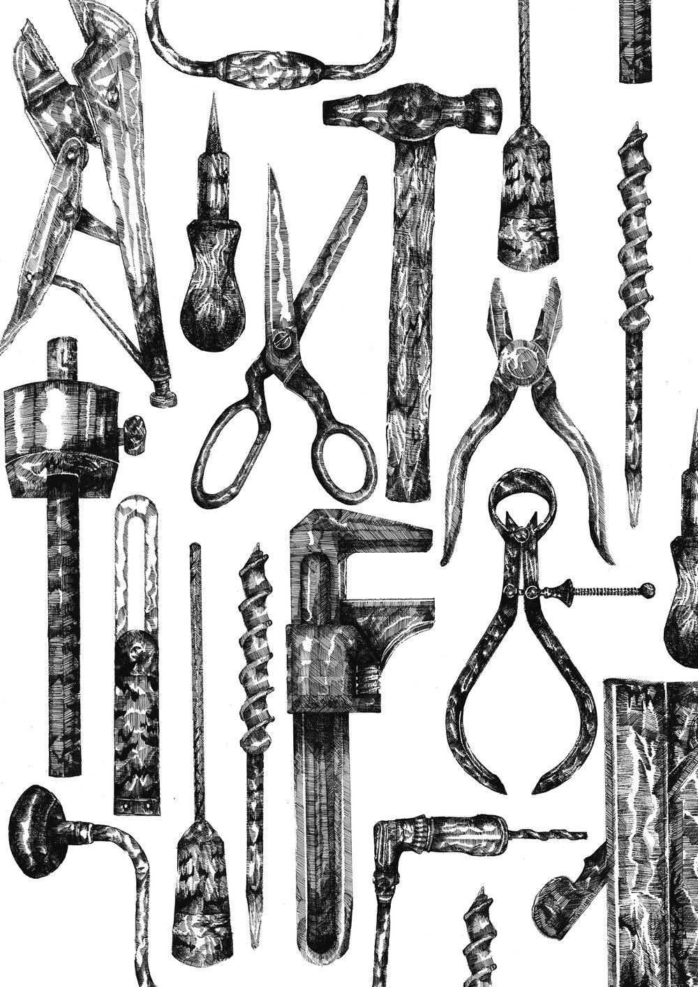 © Ruth Emma Fox Grandads Black and White Tools Illustration.jpg