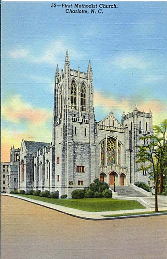 A 1952 postcard featuring First Methodist.