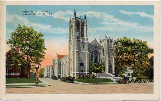 A 1953 postcard featuring First Methodist.
