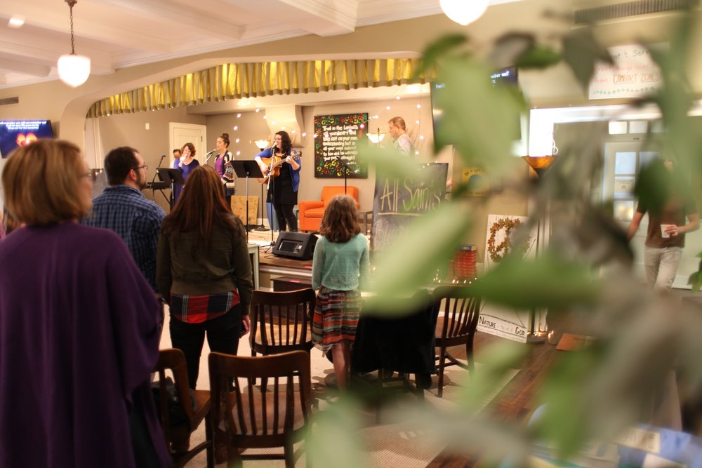 "Our 9:00 a.m. Sunday ""Connect"" service, with a contemporary, coffee shop feel, features a worship band."