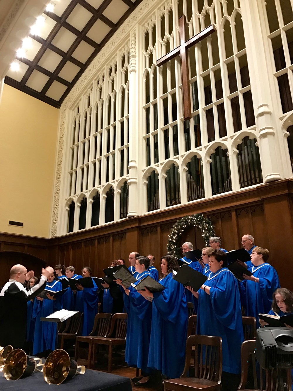 The choir singing during the annual Advent Lessons and Carols service.