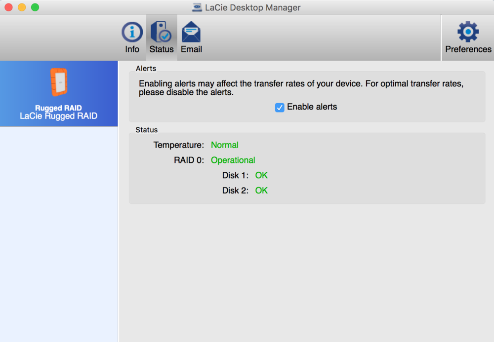 LaCie Desktop Manager comes with drive.
