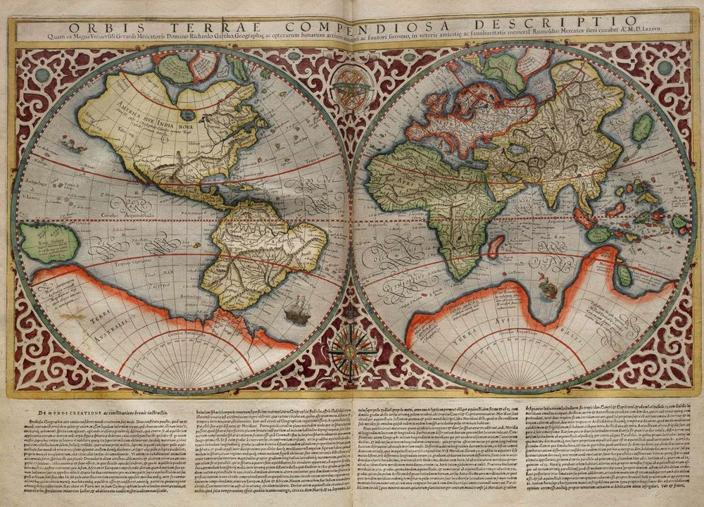 Planisphere made by Rumold Mercator, 1587.