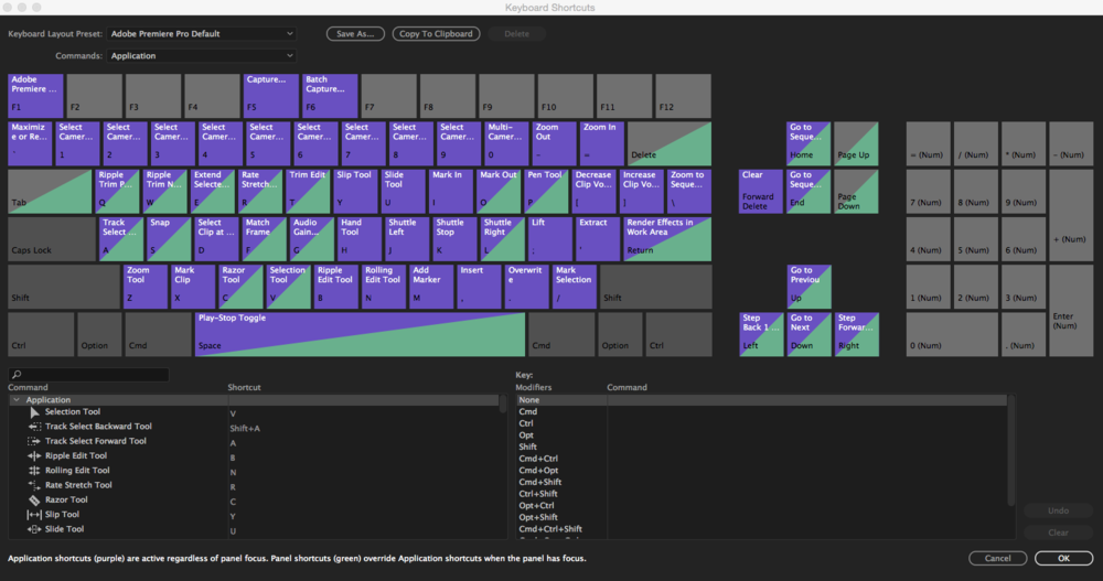 New visual keyboard shortcut mapping in Premiere Pro CC 2017.