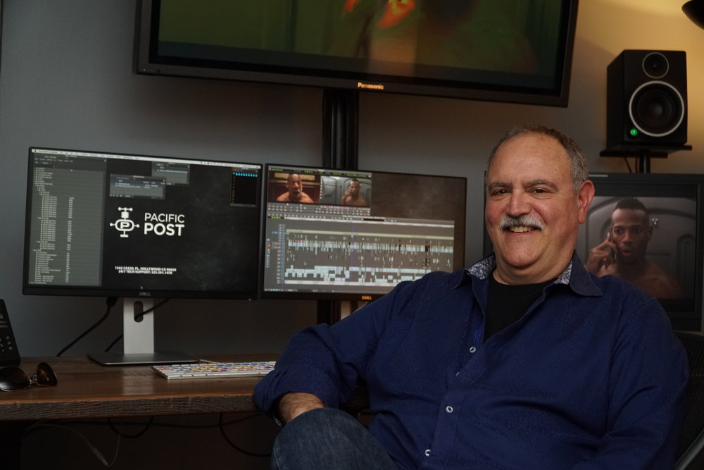 Lawrence Jordan in front of his current Avid Media Composer editing system.