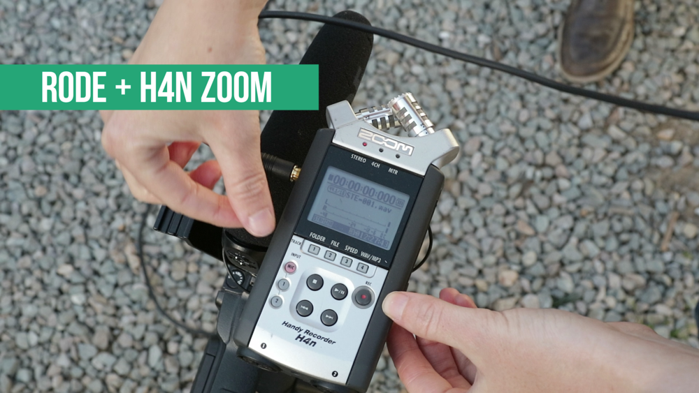 Using the Zoom H4n Handy Recorder as an interface to record and save audio from the Rode VideoMic Pro.