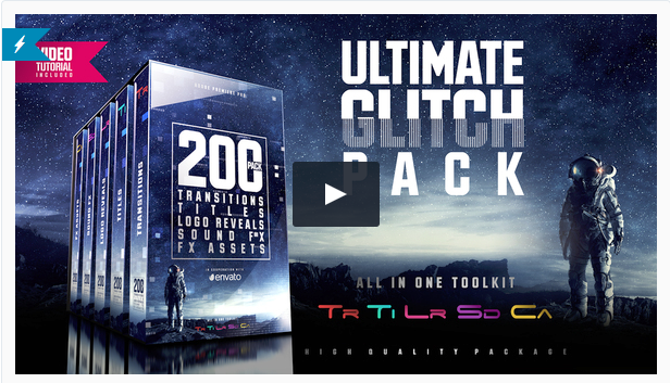 Example of a VideoHive Glitch Premiere Pro transition pack. Click to preview template pack.