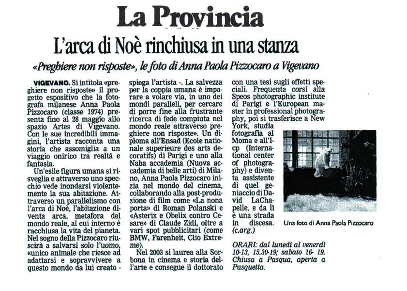 """La Provincia"" Italian Local Newspaper, April 2011"