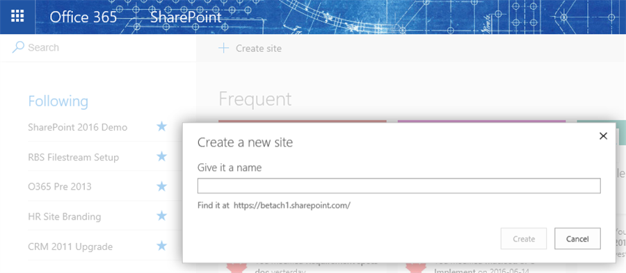 Create a new site from the SharePoint home page