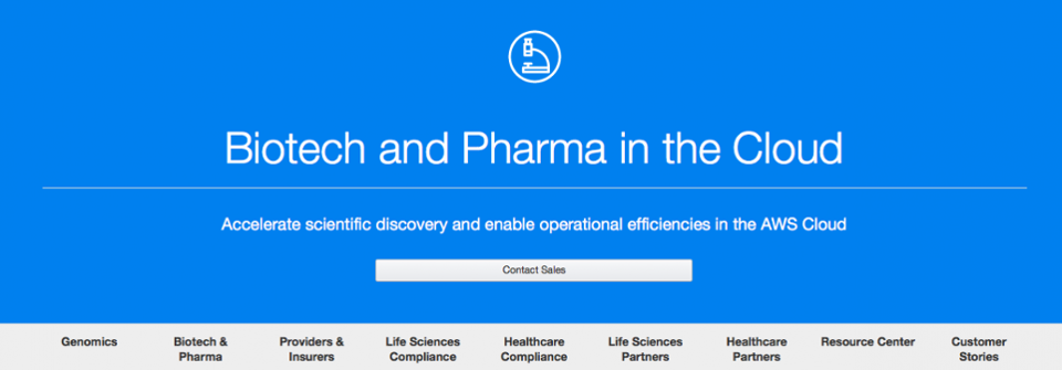 Amazon Web Services offers an inpressive set of industry-specific services for biotech and pharma.