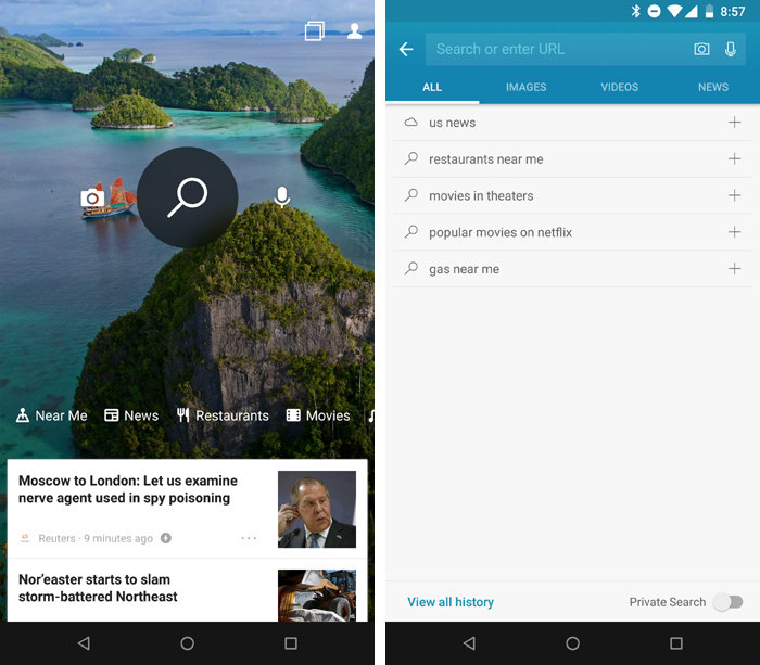 Microsoft's Bing Search app brings the full Bing experience to your Android phone, complete with customizable tabs for your own search interests.