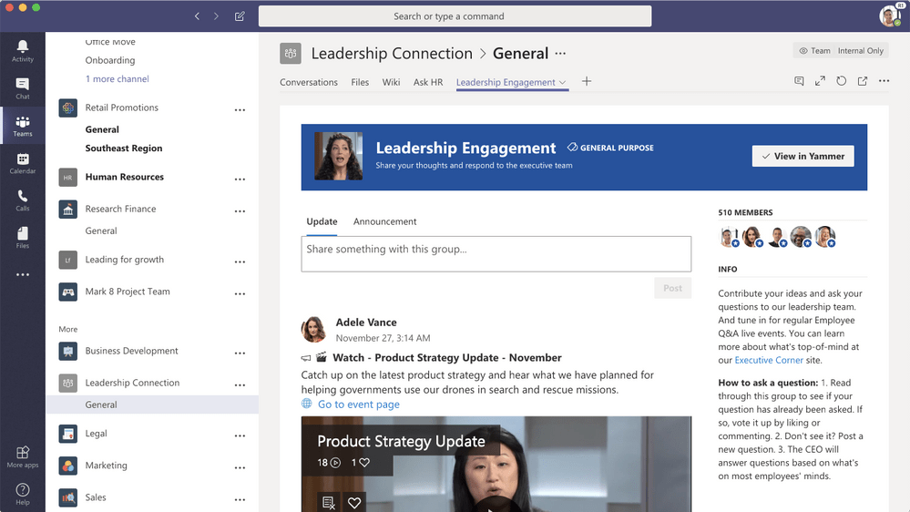 Microsoft Teams users can now access Yammer without leaving