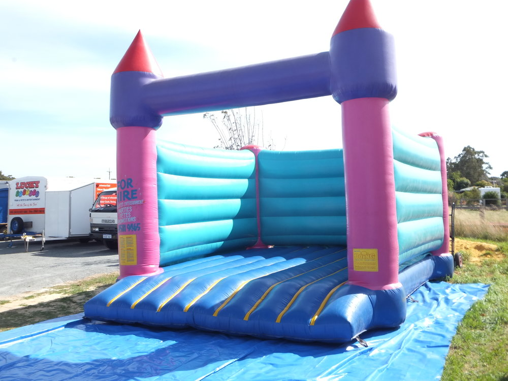 blue bouncy castle