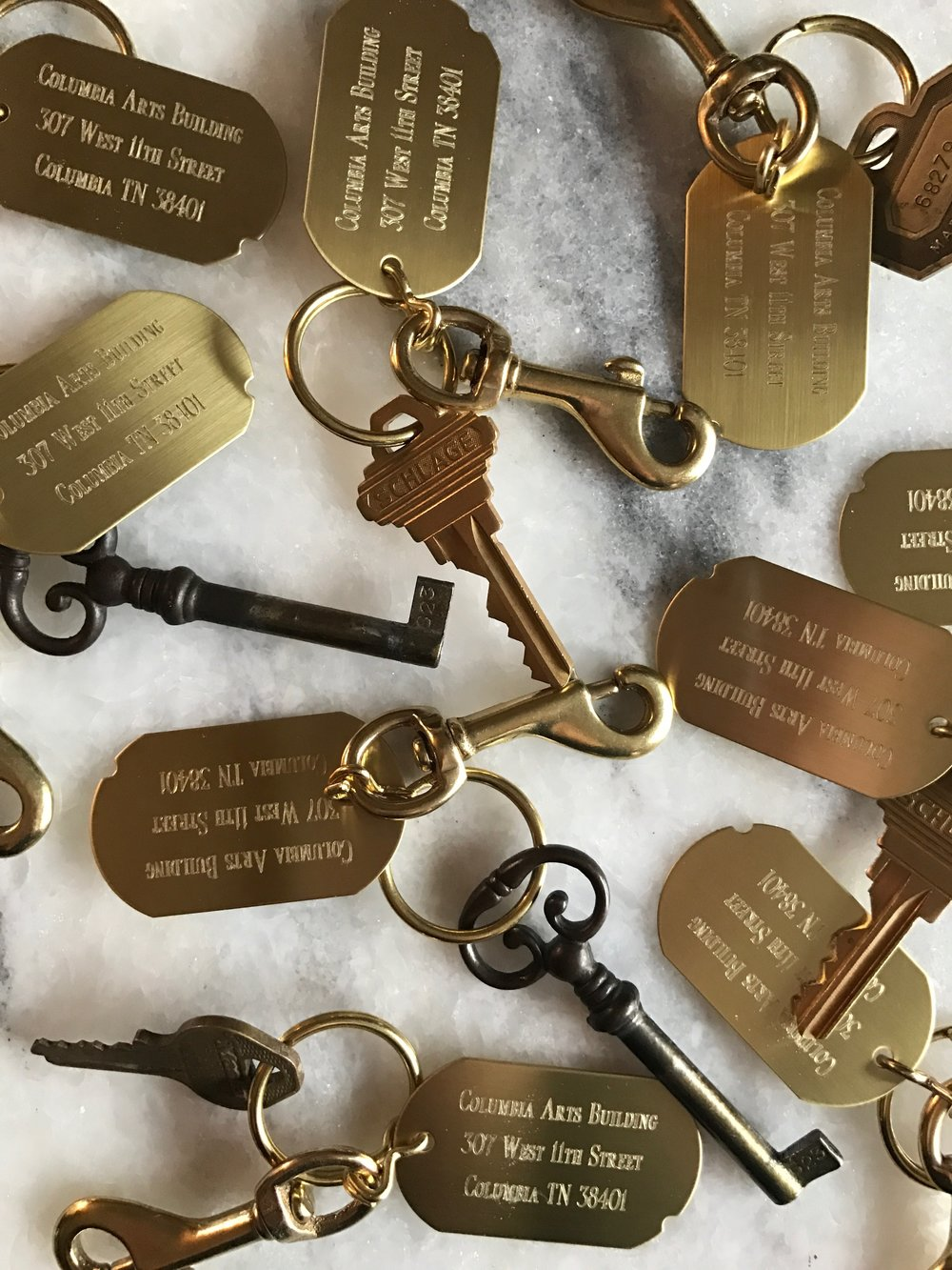 Each artist/tenant will be provided with our signature key tag  for their studio access keys.