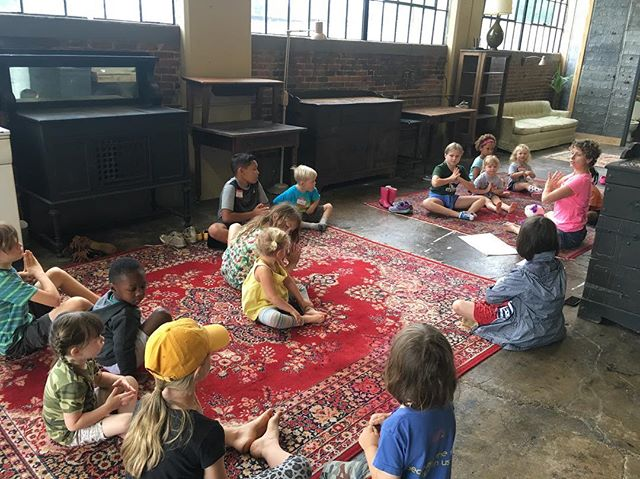 Campers learning about compassion through #angelbearyoga.... rule number one of camp: have compassion for our friends, animals, nature, and ourselves! #cablab #columbiatn #columbiaartsbuilding #bugsandbirds