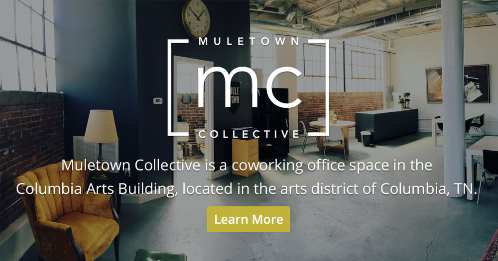 Muletown Collective - Muletown Collective is a coworking office space in theColumbia Arts Building, located in the arts district of Columbia, TN.Now taking applications!Open Monday - Friday, 9am-5pm.Learn More at muletowncollective.com