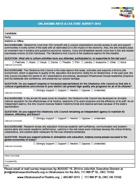See full survey here: https://ok4thearts.files.wordpress.com/2014/07/ofta-candidatesurvey-final2014.pdf