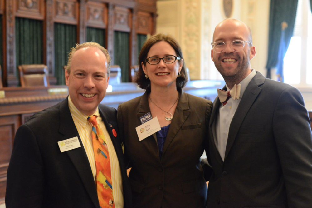Ken Busby (Tulsa), Julia Kirt (OKC) & Jonathan Fowler (Norman) at 2014 OK Arts Day