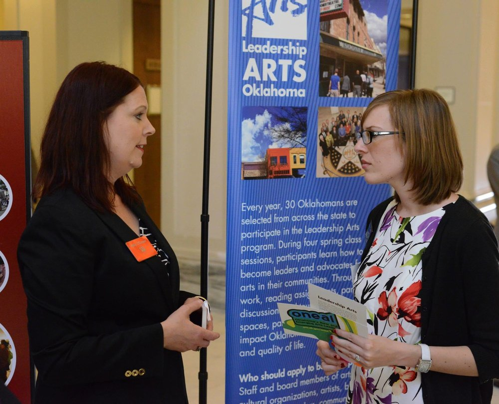 Molly O'Connor (Oklahoma Arts Council) and Krystle Brewer, Tulsa at Arts Day 2014