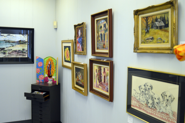 Art by local artists hangs in the newly renovated art gallery.