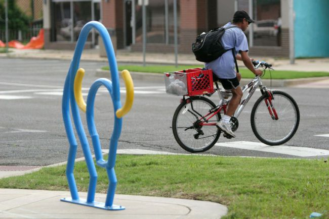 A project of the Norman Public Arts Board, artist-designed bike racks are placed throughout downtown Norman.