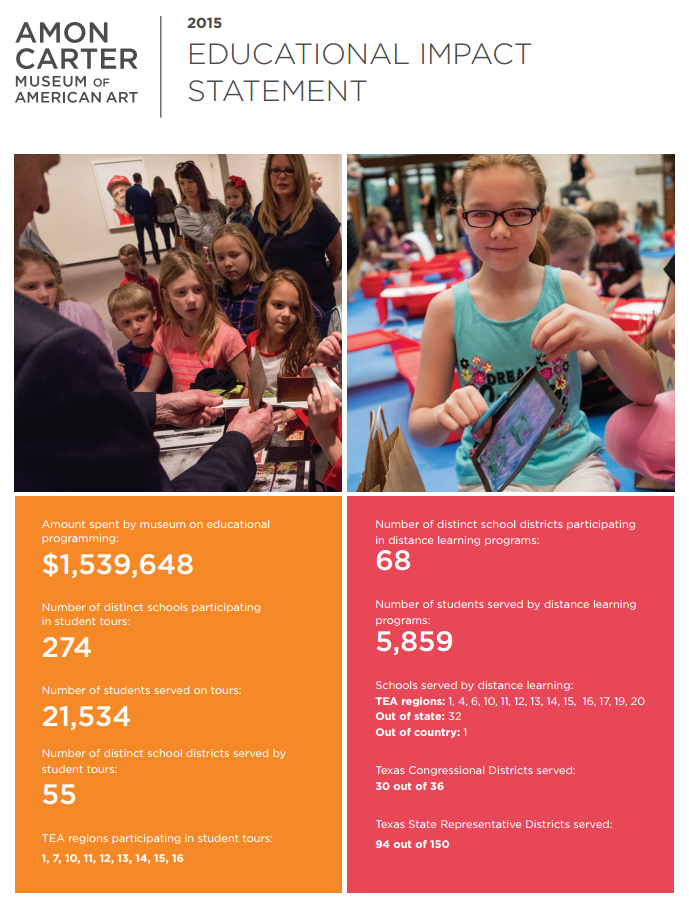Amon Carter Museum  explains educational impact alongside economic impact.