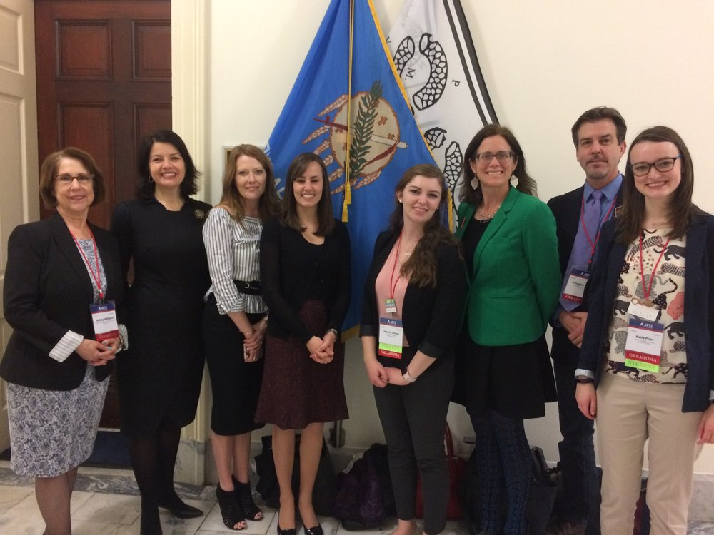 Erinn Gavaghan (3 from left) and the Oklahoma Arts Advocacy Day team with Congressman Steve Russell'a legislative assistant Amy Baker (4 from left)