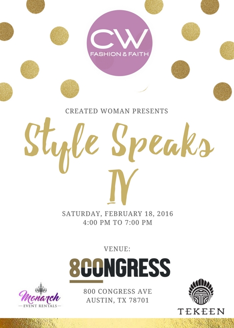 Style Speaks IV! Click  HERE  to get your ticket!