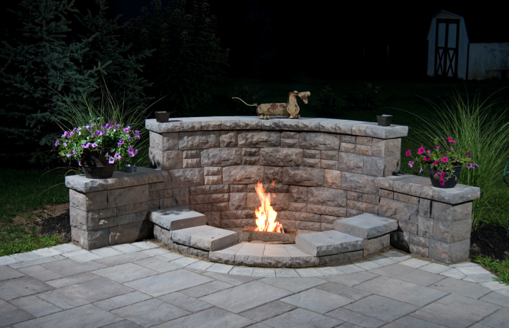 Patio design including landscape lighting in Westchester County, NY