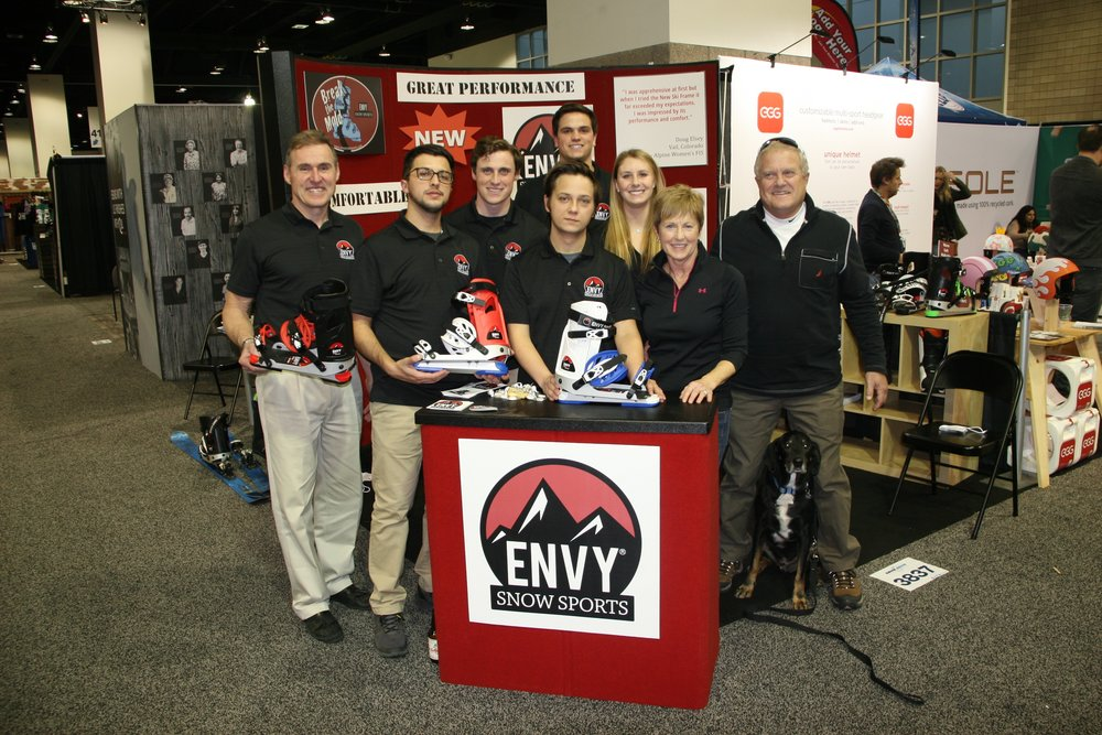 The Envy team enjoying themselves at the 2017 SIA Snow Show in Denver.