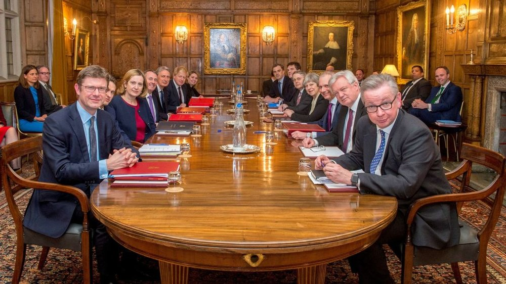 The cabinet at Chequers yesterday. Seriously, what is going on with Michael Gove's expression?