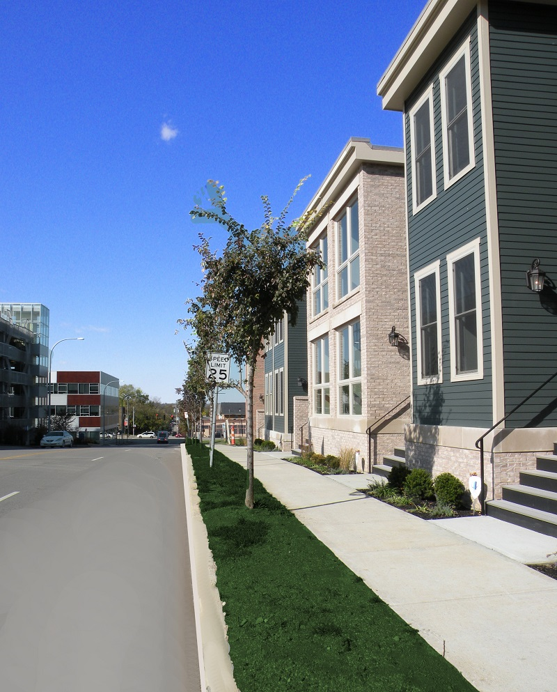 Hickory Place Townhomes Sidewalk View