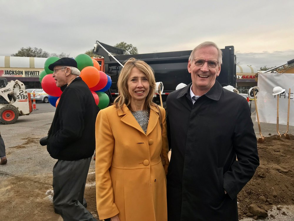 Beth Robinson, President and CEO of Uptown Consortium, and Rick Lofgre, President and CEO of UC Health, at the Avondale Town Center Groundbreaking.