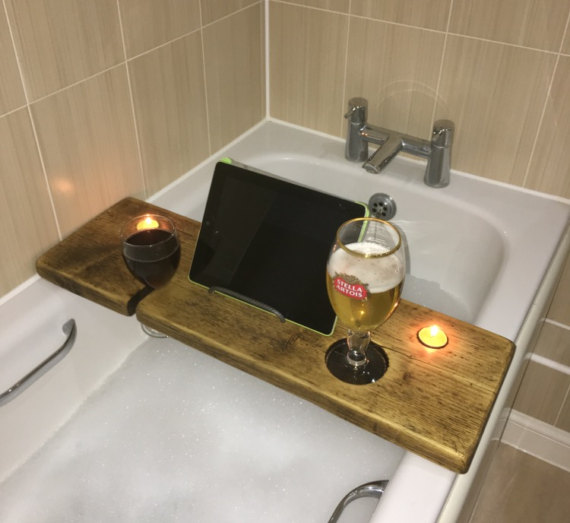 Bath Shelf with book and wine holder. £25.00