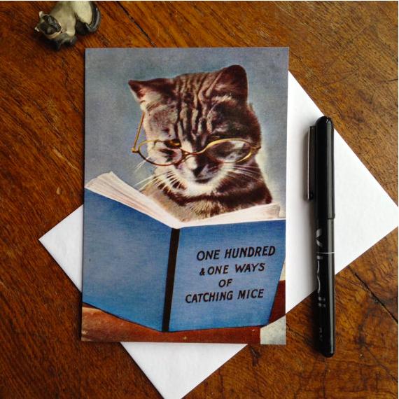 Lounge Books - Etsy - Cat reading