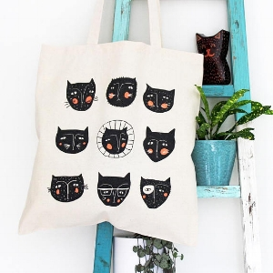Cat Faces Cotton Tote bag  £8.00